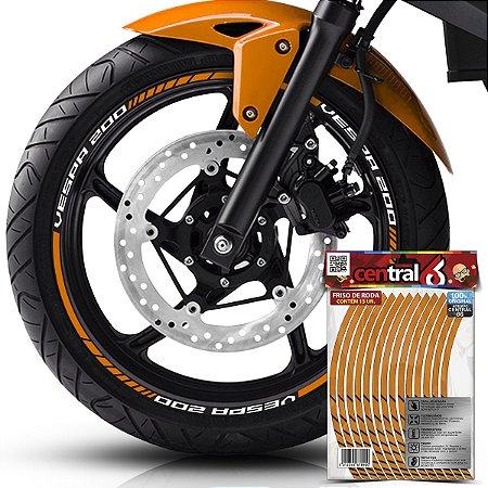 Frisos de Roda Premium Piaggio VESPA 200 Refletivo Dourado Filete