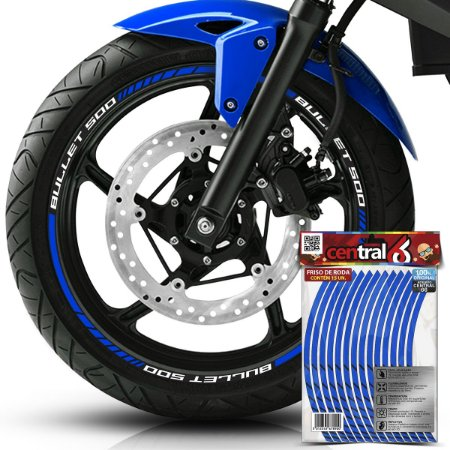 Frisos de Roda Premium Royal Enfield BULLET 500 Refletivo Azul Filete