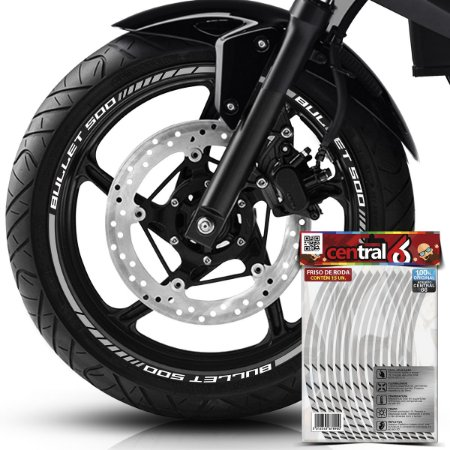 Frisos de Roda Premium Royal Enfield BULLET 500 Refletivo Branco Filete