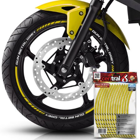 Frisos de Roda Premium Royal Enfield GUN METAL GREY Refl Amarelo Filete