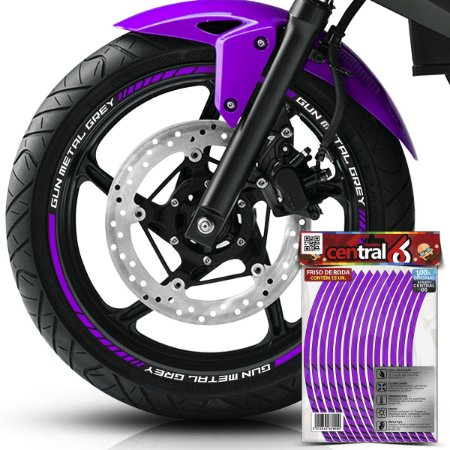 Frisos de Roda Premium Royal Enfield GUN METAL GREY Roxo Filete