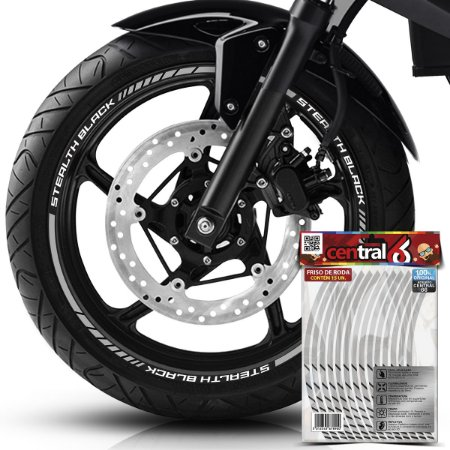 Frisos de Roda Premium Royal Enfield STEALTH BLACK Refletivo Branco Filete
