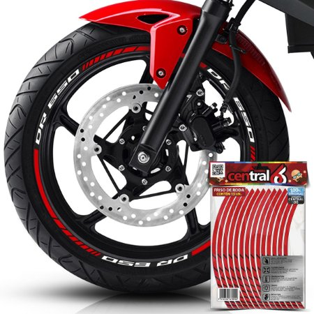 Frisos de Roda Premium Suzuki DR 650 Refletivo Vermelho Filete