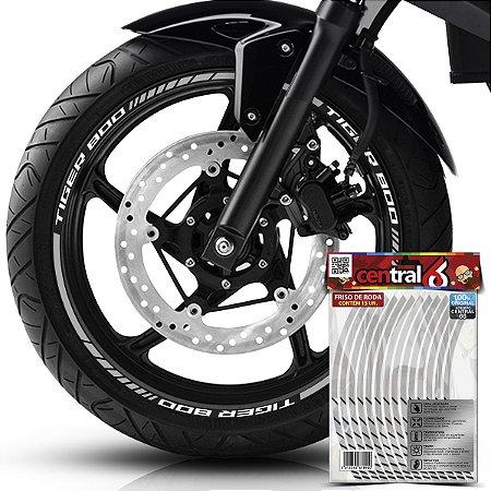 Frisos de Roda Premium Triumph TIGER 800 Refletivo Branco Filete