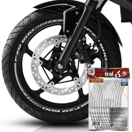 Frisos de Roda Premium Yamaha FZR 600 Refletivo Branco Filete