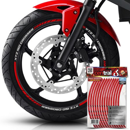 Frisos de Roda Premium Yamaha XTZ 150 CROSSER Refletivo Vermelho Filete
