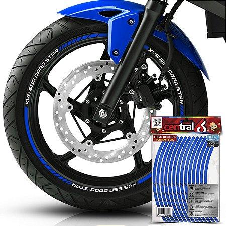 Frisos de Roda Premium Yamaha XVS 650 DRAG STAR Refletivo Azul Filete