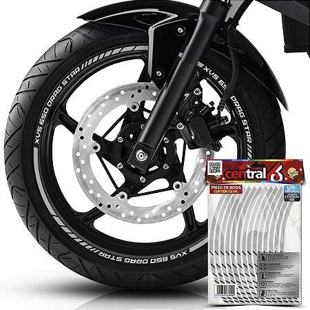 Frisos de Roda Premium Yamaha XVS 650 DRAG STAR Refletivo Branco Filete