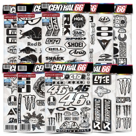 Cartela 154 Adesivos Patrocínios Preto e Branco Moto GP RedBull Monster Valentino