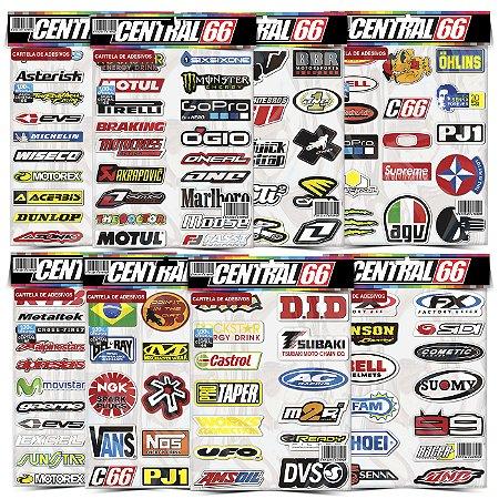 Kit 8 Cartelas Adesivos Motocross Patrocinios Tuning