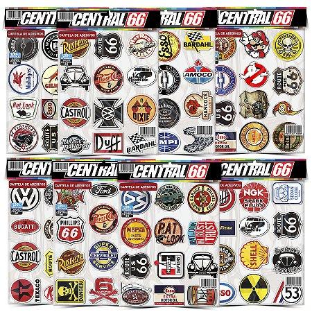 Kit 8 Cartelas Adesivos Logos Antigos Tuning Vintage Old School