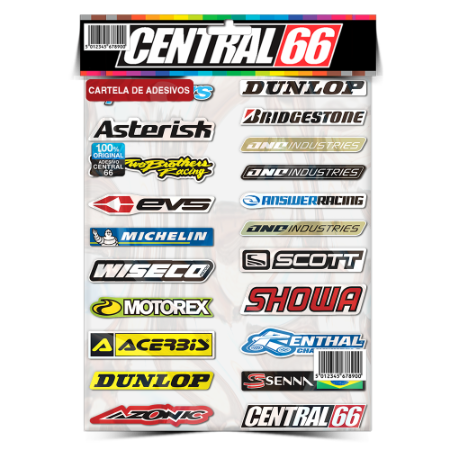 Cartela Adesivos Motocross M1 Individual Nº3 Patrocinios