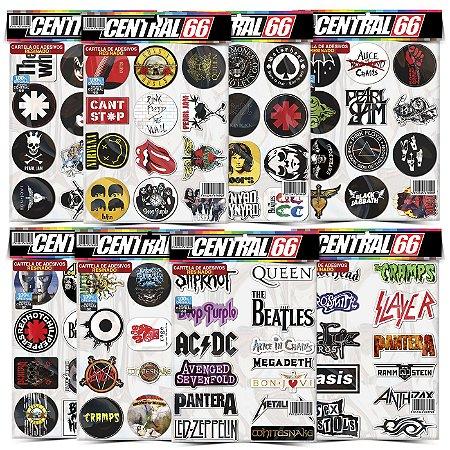 Kit 8 Cartelas Adesivos Música Rock