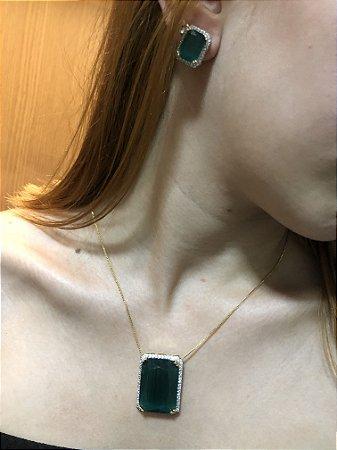 Conjunto pedra verde acetinada