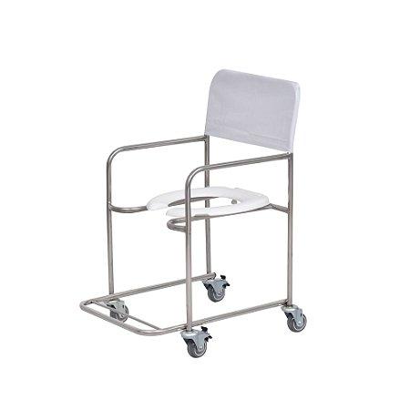 Cadeira de Rodas Para Banho Inox - Salutem Móveis Hospitalares