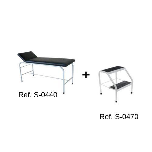 Combo Mesa/Maca Para Massagem + Escada 2 Degraus com Anti-Derrapante
