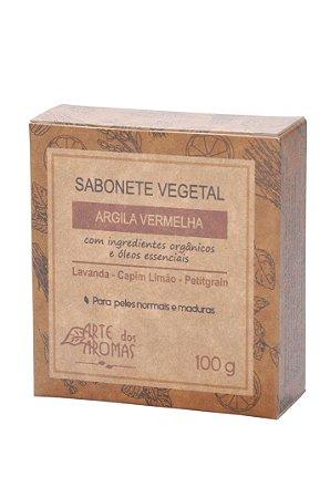 Sabonete vegano e natural em barra Arte dos Aromas - Argila vermelha 100g