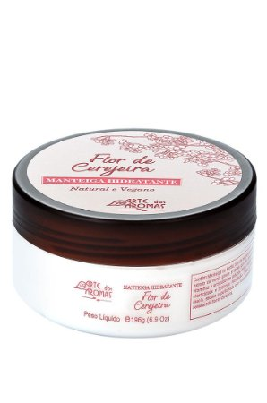 Manteiga hidratante corporal vegana e natural Arte dos Aromas - Flor de cerejeira 196g