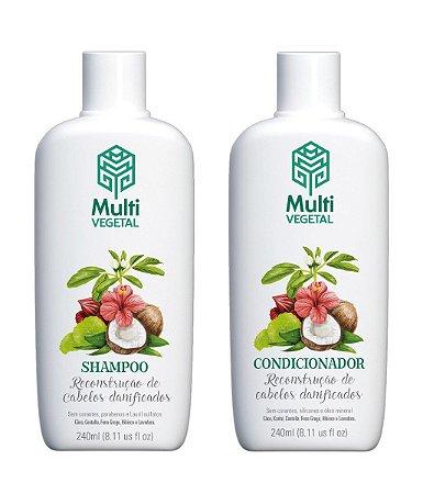 Shampoo e condicionador veganos Multi Vegetal - Côco 240ml