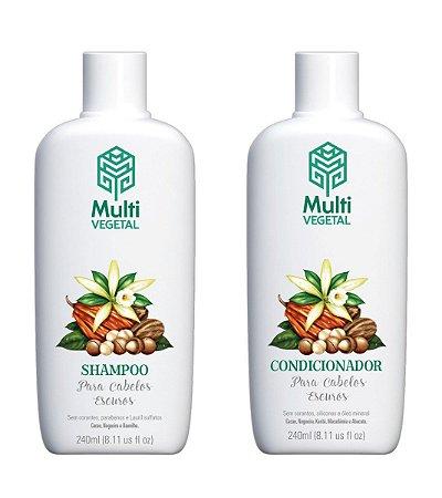 Shampoo e condicionador veganos Multi Vegetal - Nogueira, cacau e baunilha 240ml