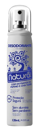 Desodorante vegano spray Suavetex - Pepino e Chá Verde Natural 120ml