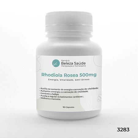 Rhodiola Rosea 500mg :  Energia, Vitalidade, Anti Stress - 90 Cápsulas