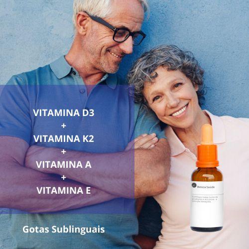 Complexo de Vitaminas  D3 + K2 + A + E  : Gotas Sublinguais para a Saúde dos Ossos, Mental e Físico