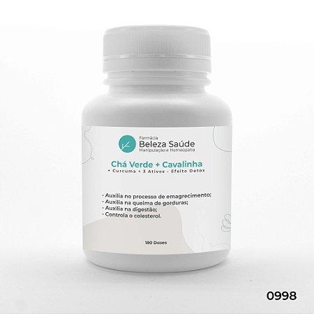 Chá Verde + Cavalinha + Curcuma + 3 Ativos - Efeito Detox - 120 doses