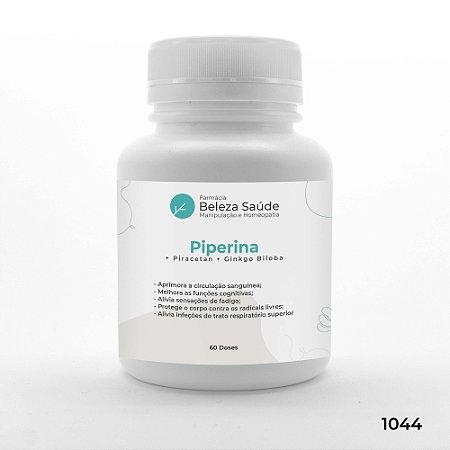Piperina + Piracetan + Ginkgo Biloba - Saúde Mental do Corpo - 60 doses