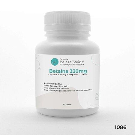 Betaína 330mg + Pepsina 40mg + Papaína 120mg : Enzimas Digestivas - 90 doses