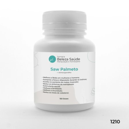 Saw Palmeto + Ashwagandha - Aumenta Desempenho - 150 doses