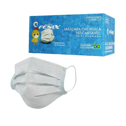MASCARA CIRÚRGICA INFANTIL FÊNIX - COM 50 UNIDADES