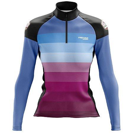 Camisa Ciclismo Feminina Pro Tour Degrade Manga Longa