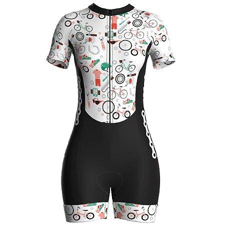 Macaquinho Ciclismo Feminino Pro Tour Peças Forro em Gel