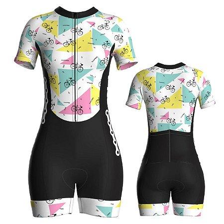 Macaquinho Ciclismo Feminino Pro Tour Triângulos Forro em Gel