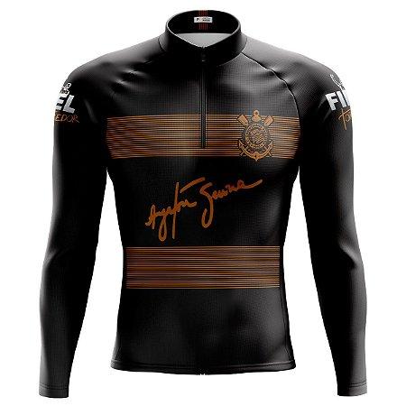Camisa Ciclismo Mountain Bike Corinthians Manga Longa dry fit proteção uv + 50