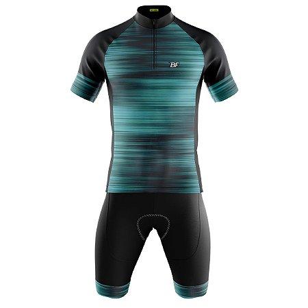 Conjunto Masculino Ciclismo Mountain Be Fast Azul Bermuda e Camisa