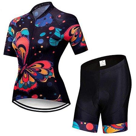 Conjunto Bermuda e Camisa Feminino Flores Forro em Gel