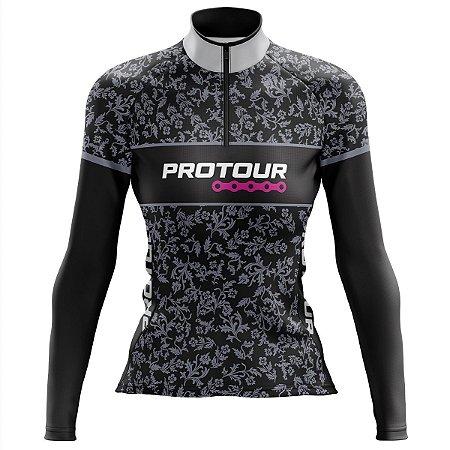 Camisa Ciclismo MTB Feminina Pro Tour Folhas MOD 64