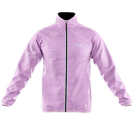 Jaqueta Ciclismo Corta Vento Pro Tour Logo Grande Rosa Claro