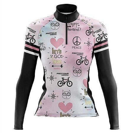 Camisa Ciclismo Mountain Bike Feminina Pro Tour Bike Life Manga Longa