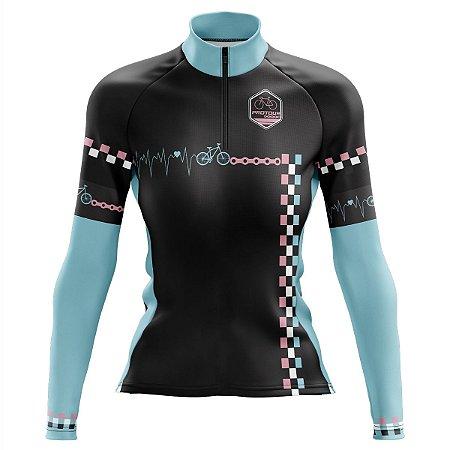Camisa Ciclismo Mountain Bike Feminina Pro Tour Racing Manga Longa
