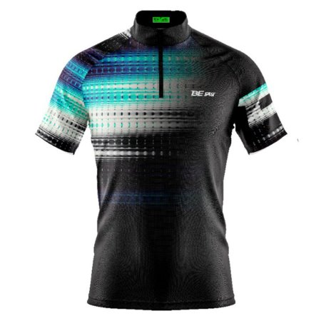 Camisa Ciclismo Mountain Bike Preta Degrades Azul