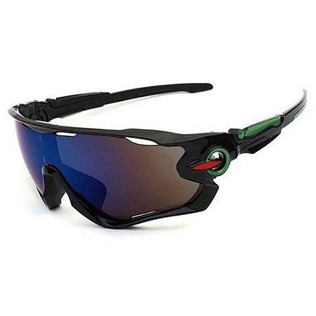 Óculos de Ciclismo Unissex Preto e verde