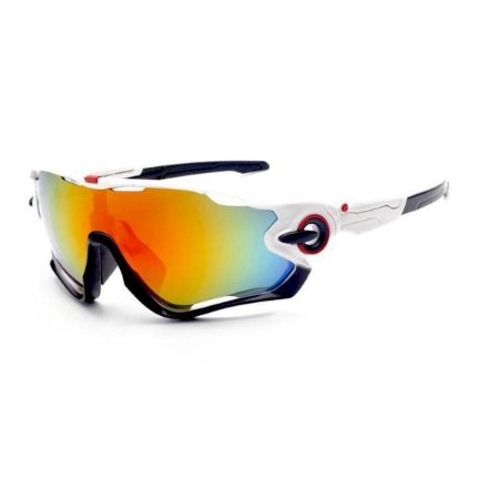 Óculos de Ciclismo Unissex Branco e Preto