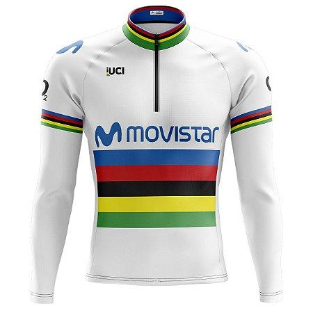 Camisa Ciclismo Mountain Bike Movistar UCI Manga Longa
