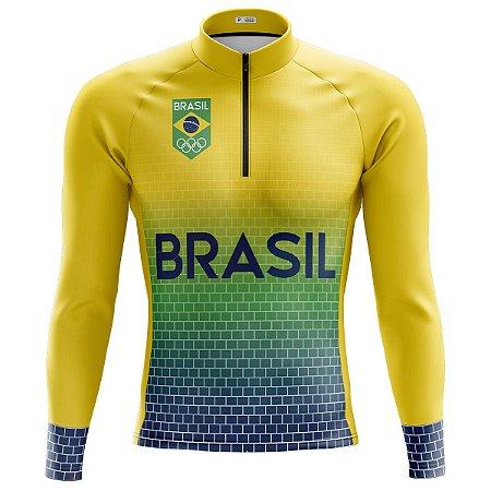 Camisa Manga Longa Masculina Seleção Brasil MOD 115
