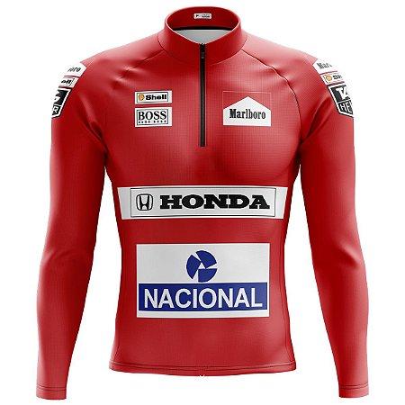 Camisa Ciclismo Mountain Bike Senna Malboro Manga Longa