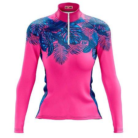 Camisa Ciclismo Mountain Bike Feminina Flores Manga Longa