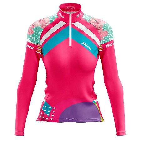 Camisa Ciclismo Mountain Bike Feminina Tropical Manga Longa